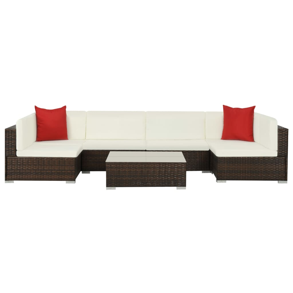 7 Piece Garden Lounge Set with Cushions Poly Rattan Brown 1