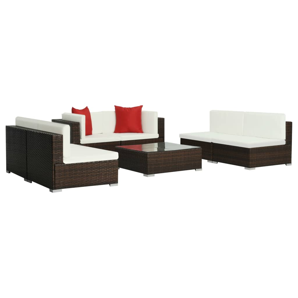 7 Piece Garden Lounge Set with Cushions Poly Rattan Brown 3