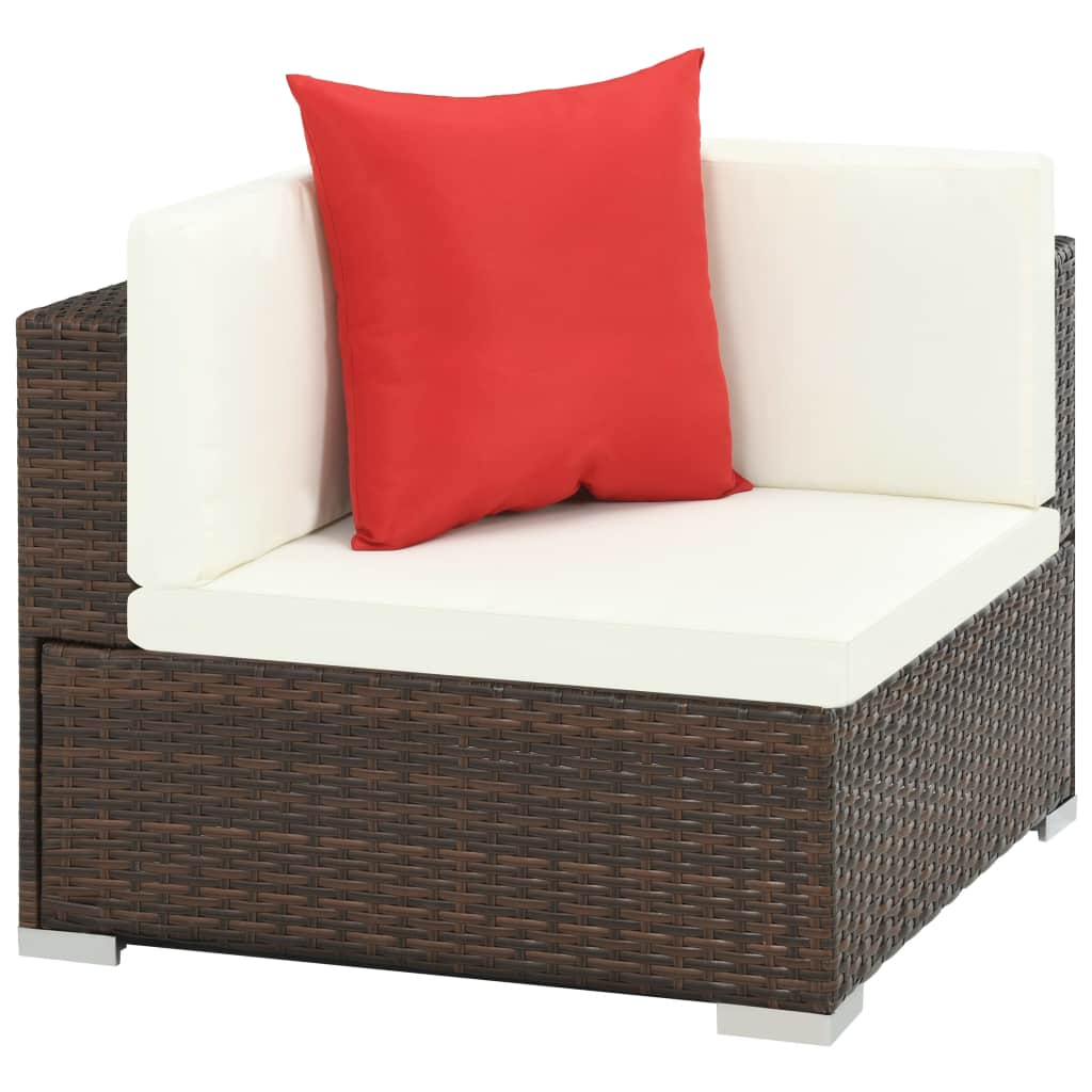 7 Piece Garden Lounge Set with Cushions Poly Rattan Brown 4