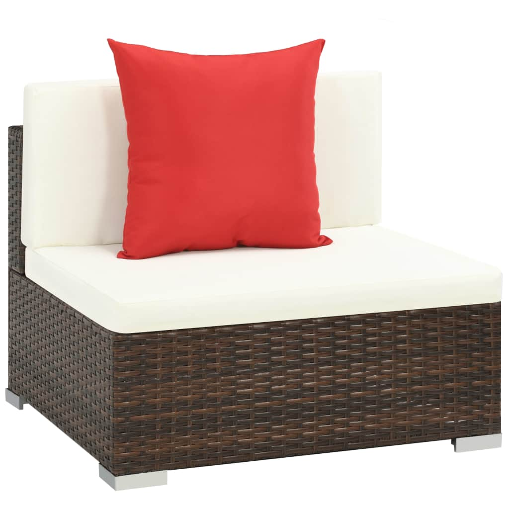 7 Piece Garden Lounge Set with Cushions Poly Rattan Brown 5