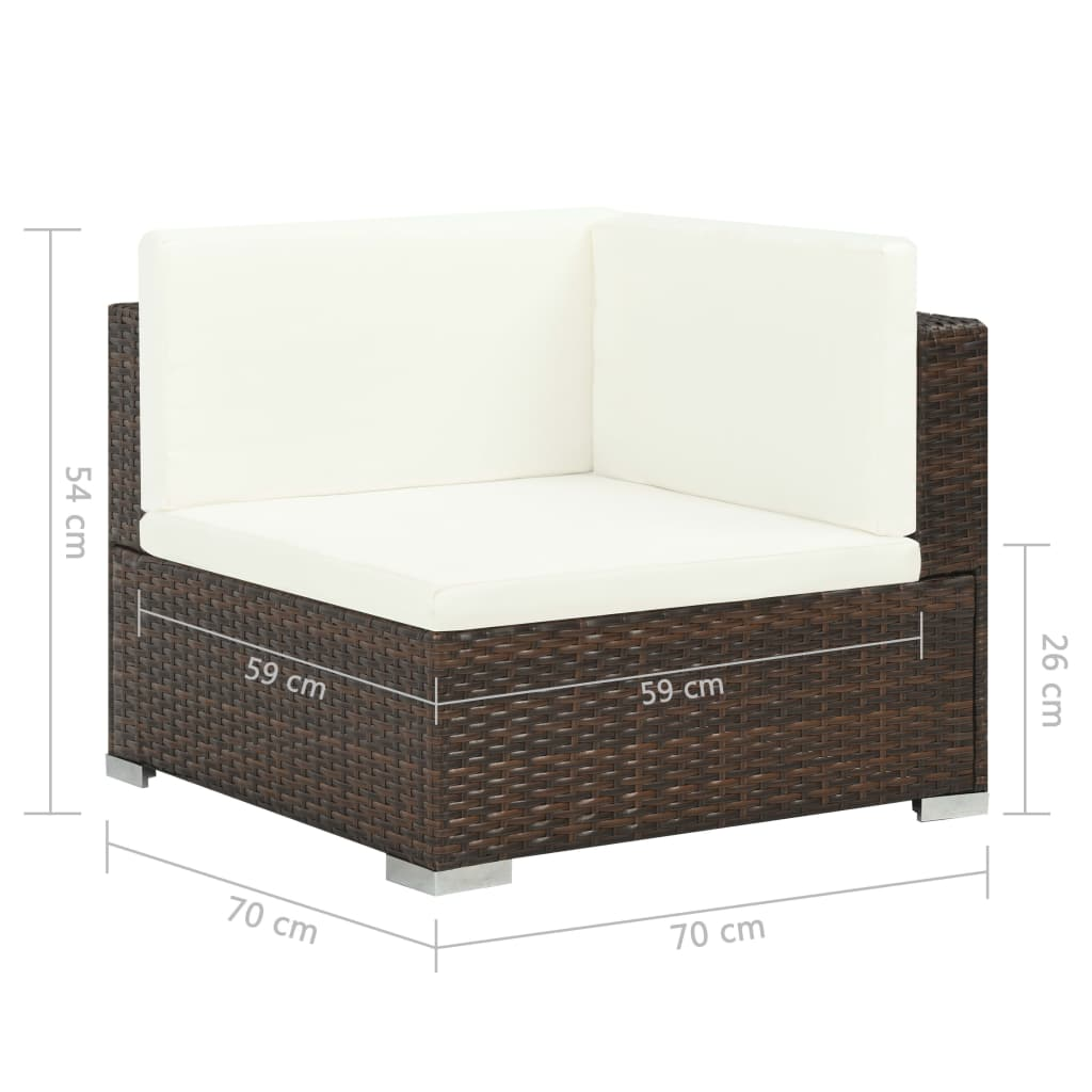 7 Piece Garden Lounge Set with Cushions Poly Rattan Brown 9
