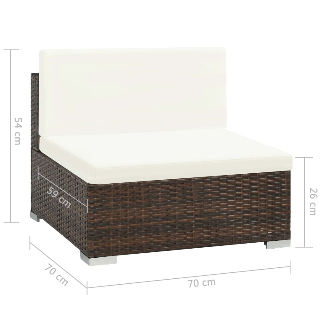 7 Piece Garden Lounge Set with Cushions Poly Rattan Brown 10