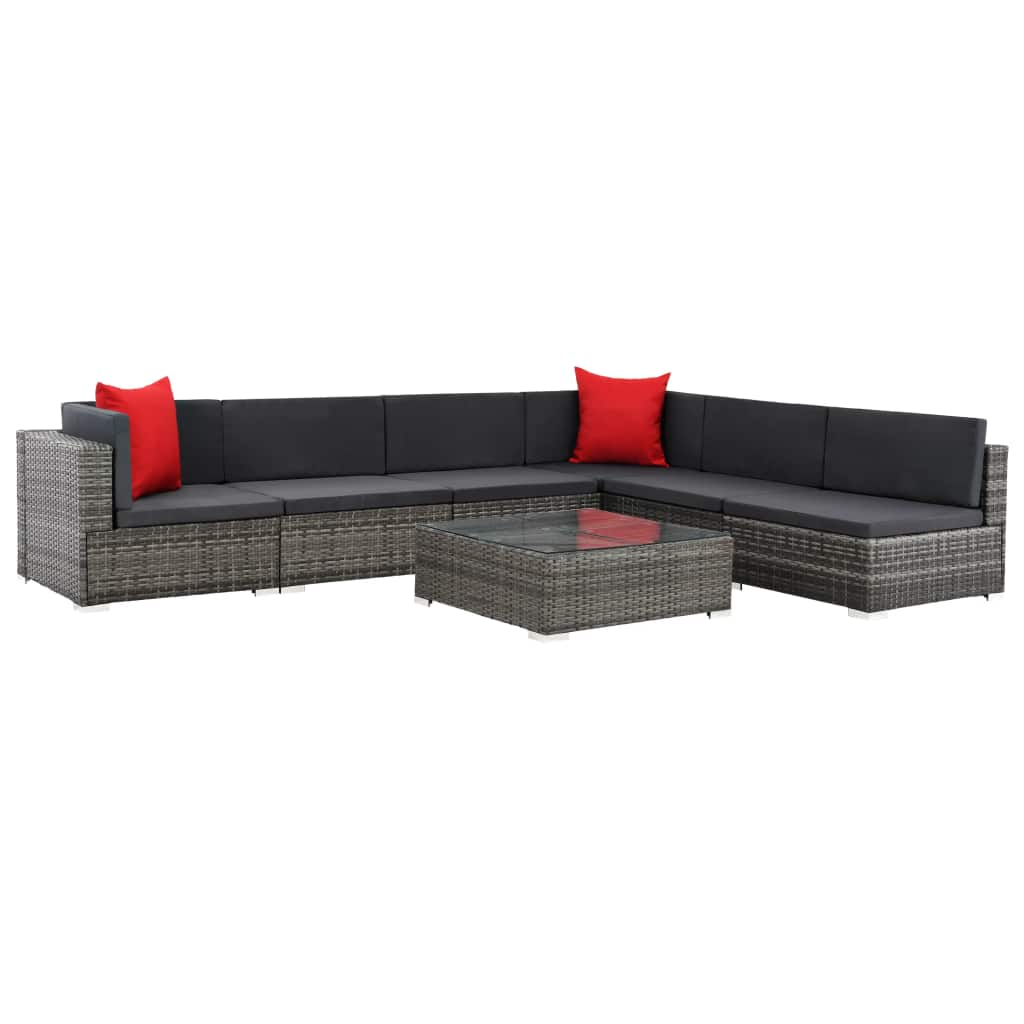 7 Piece Garden Lounge Set with Cushions Poly Rattan Grey 1