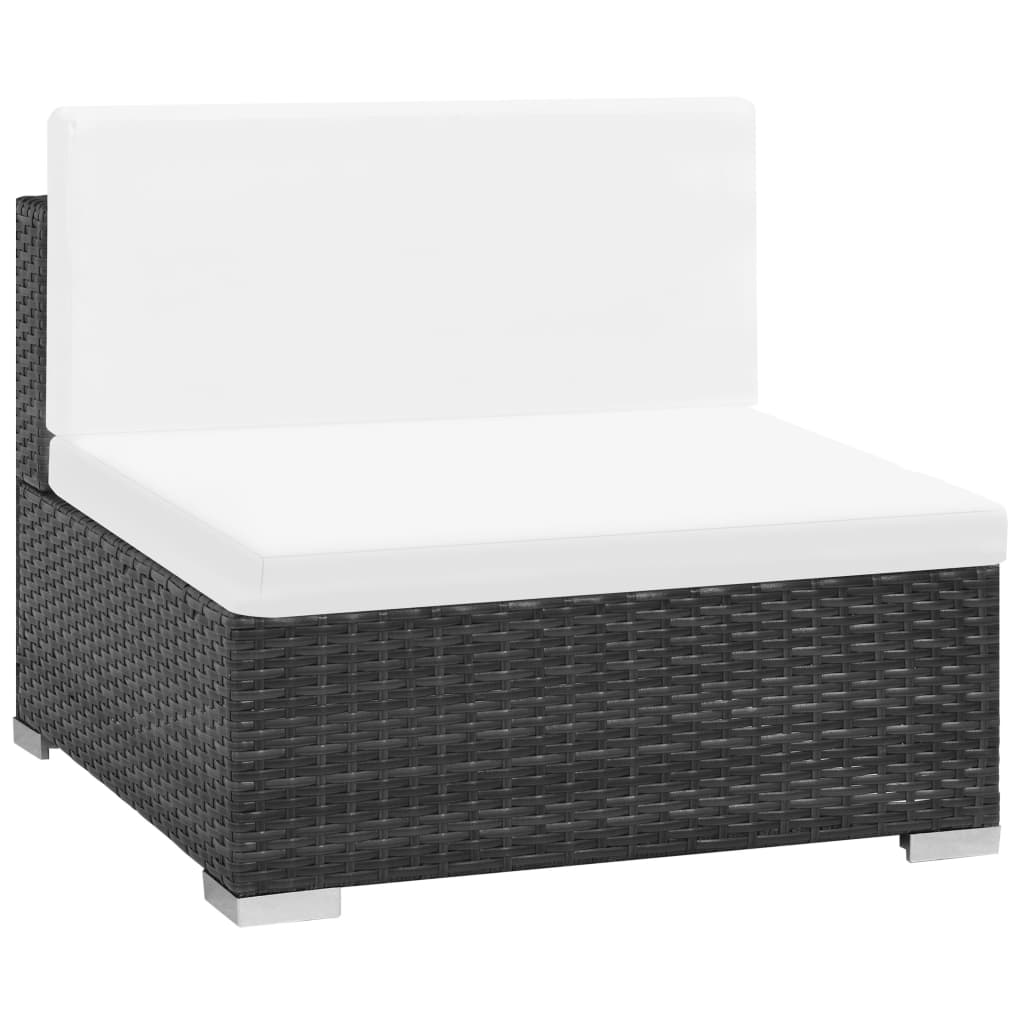 6 Piece Garden Lounge Set with Cushions Poly Rattan Black 4