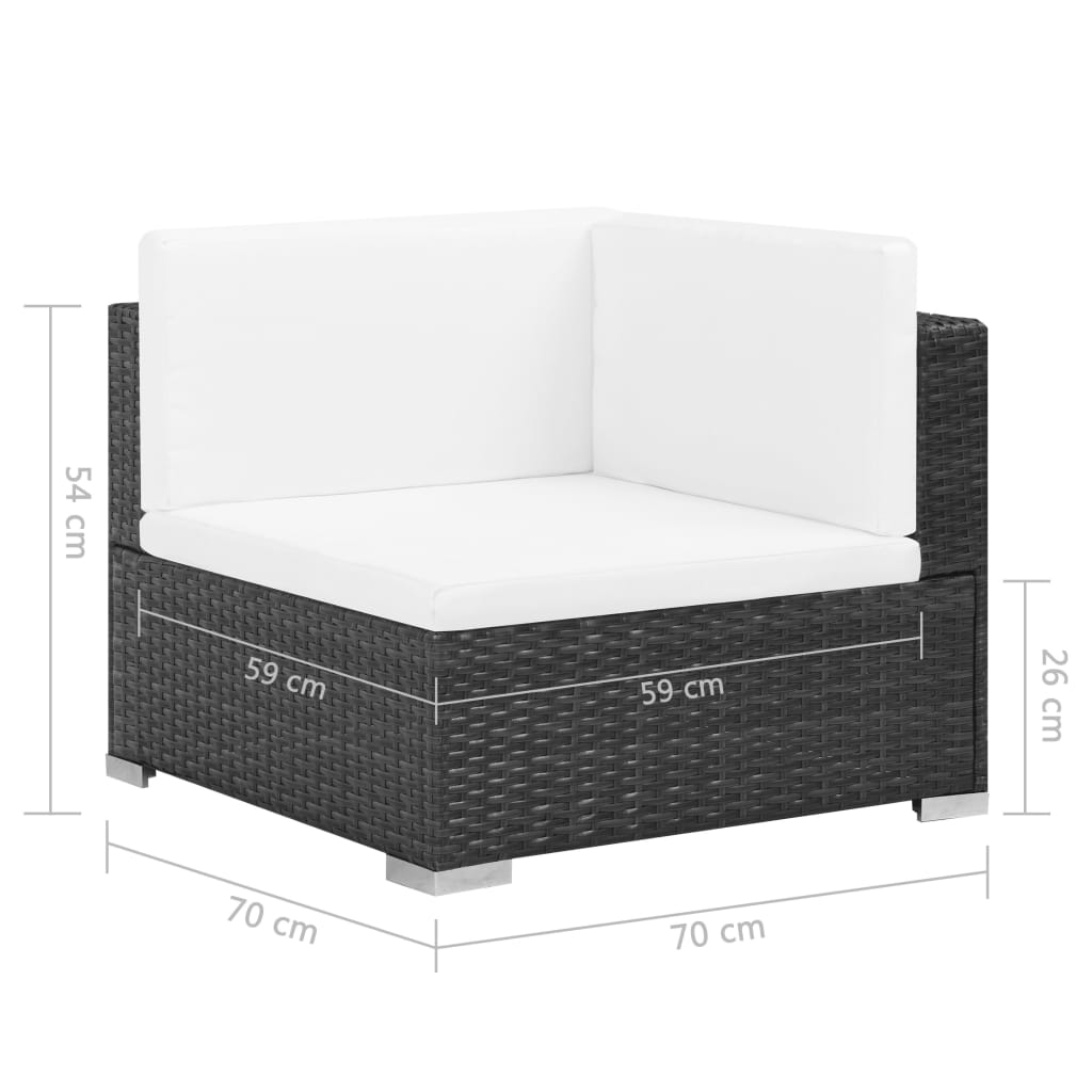 6 Piece Garden Lounge Set with Cushions Poly Rattan Black 8