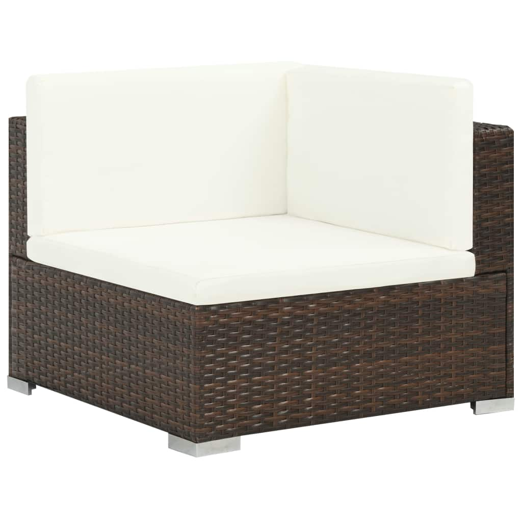6 Piece Garden Lounge Set with Cushions Poly Rattan Brown 3