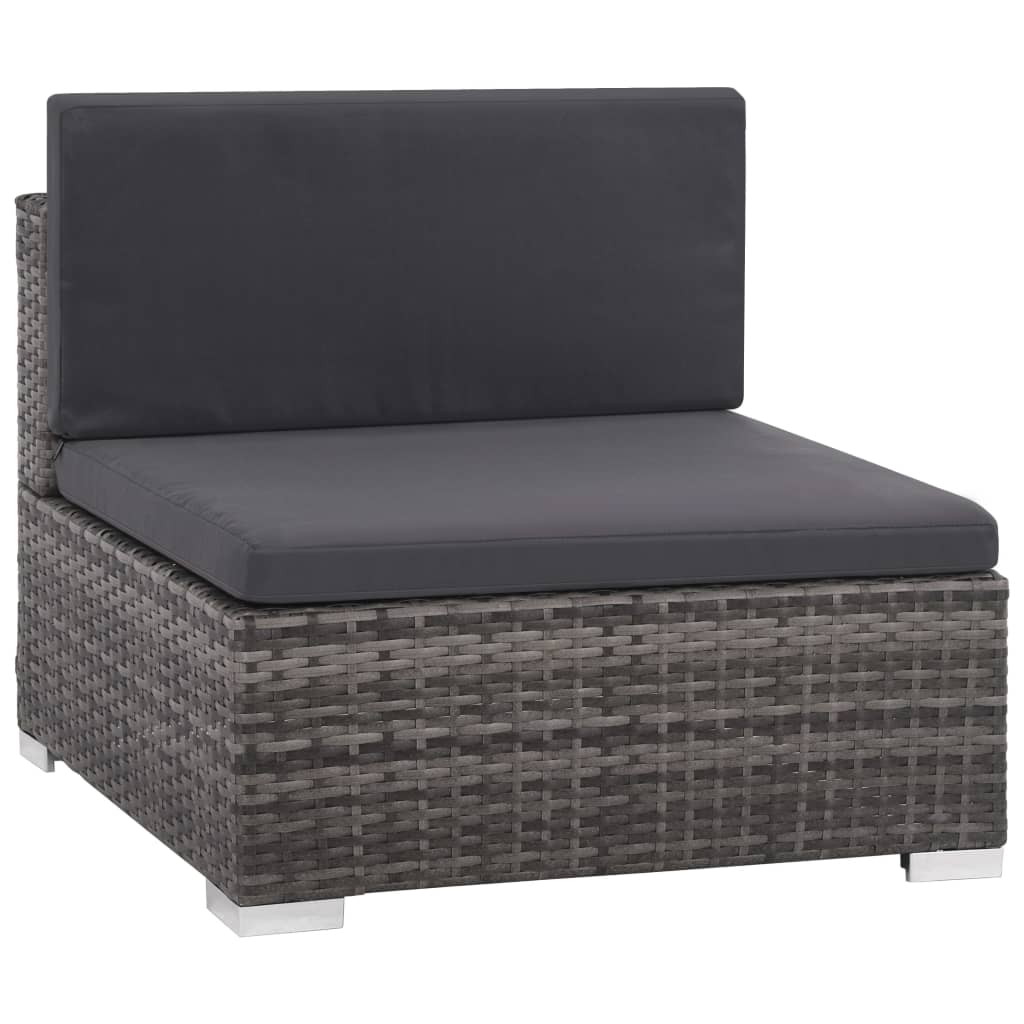6 Piece Garden Lounge Set with Cushions Poly Rattan Grey 4