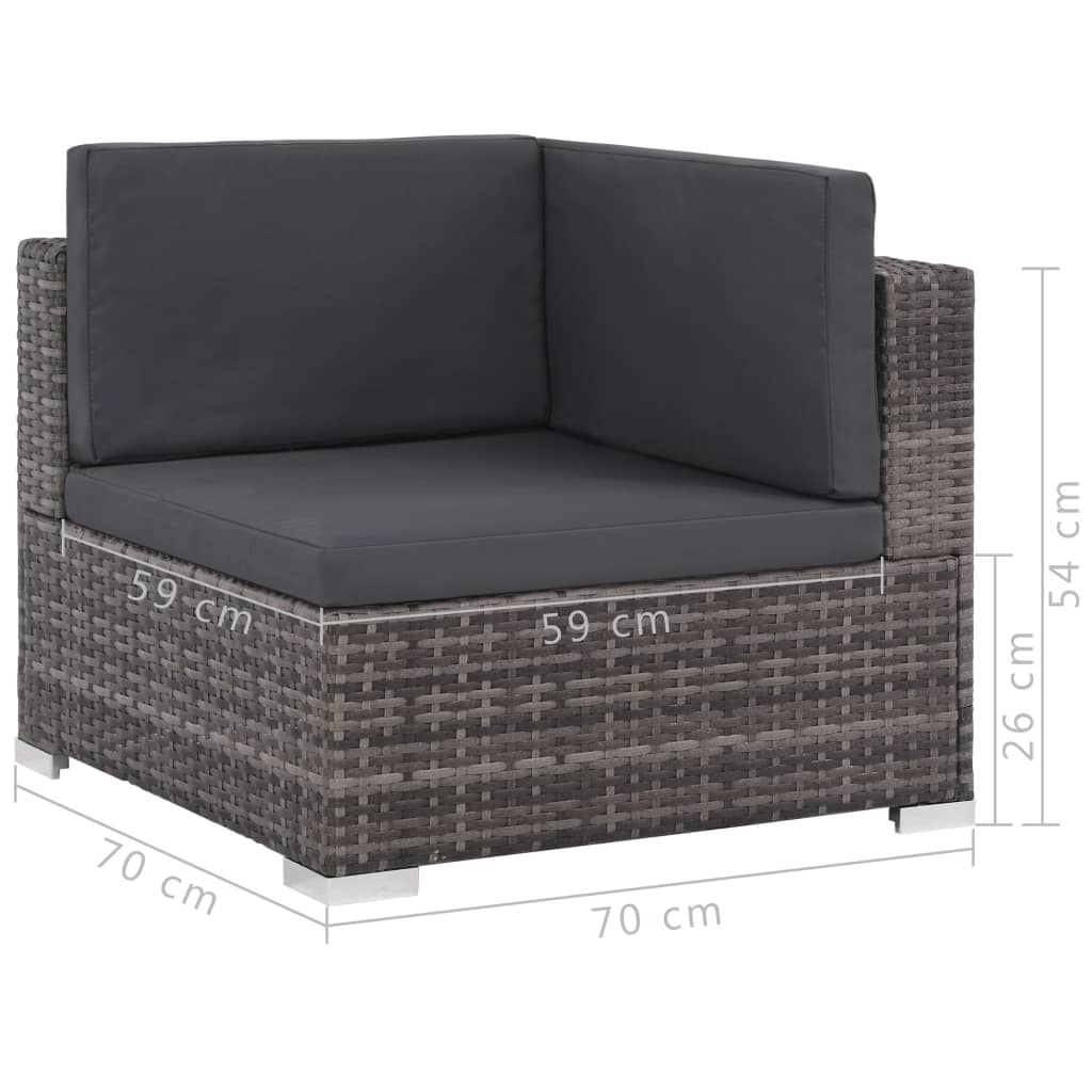 6 Piece Garden Lounge Set with Cushions Poly Rattan Grey 8