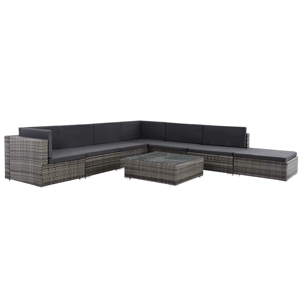 8 Piece Garden Lounge Set with Cushions Poly Rattan Grey