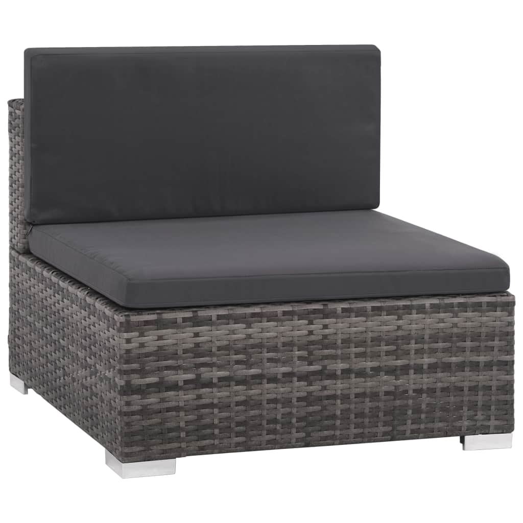 8 Piece Garden Lounge Set with Cushions Poly Rattan Grey 4