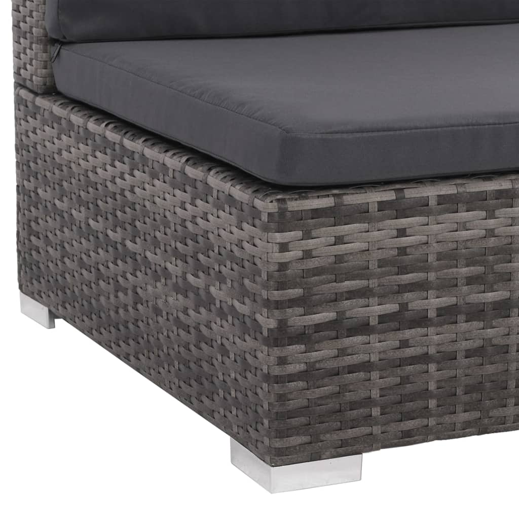 8 Piece Garden Lounge Set with Cushions Poly Rattan Grey 6