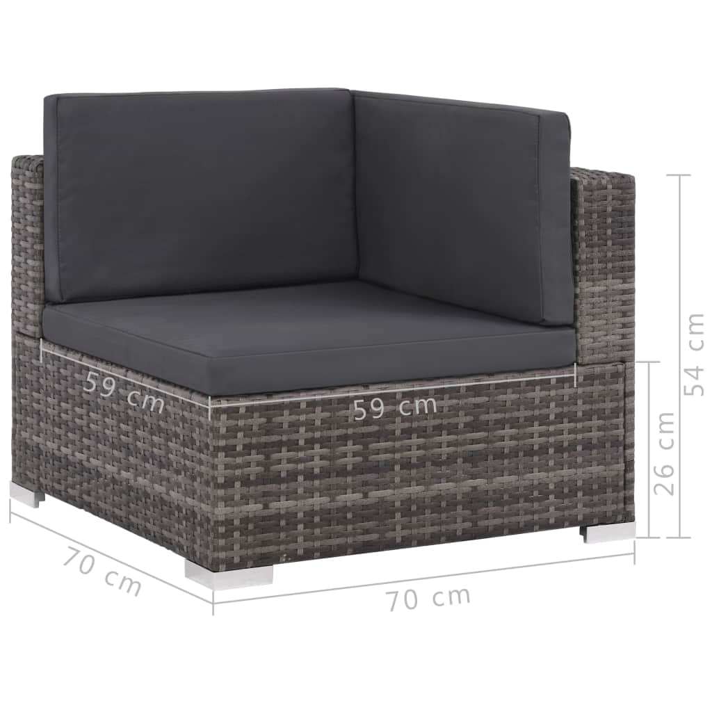 8 Piece Garden Lounge Set with Cushions Poly Rattan Grey 8