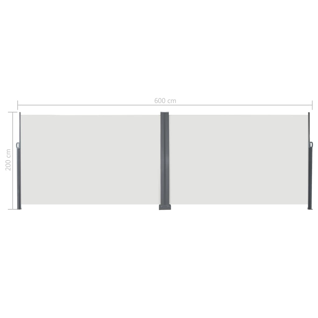 Retractable Side Awning 200×600 cm Cream 8