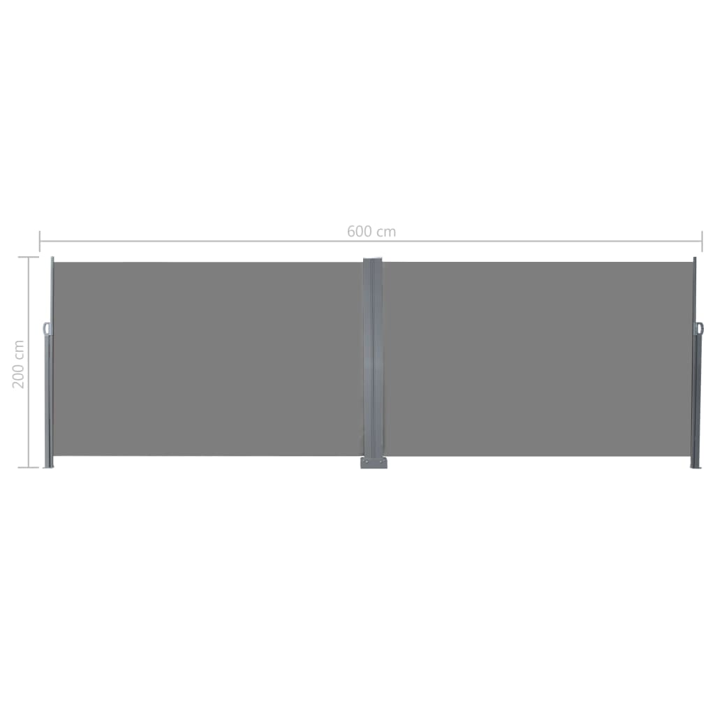 Retractable Side Awning 200×600 cm Grey 8