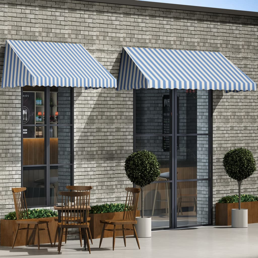 Bistro Awning 250x120 cm Blue and White