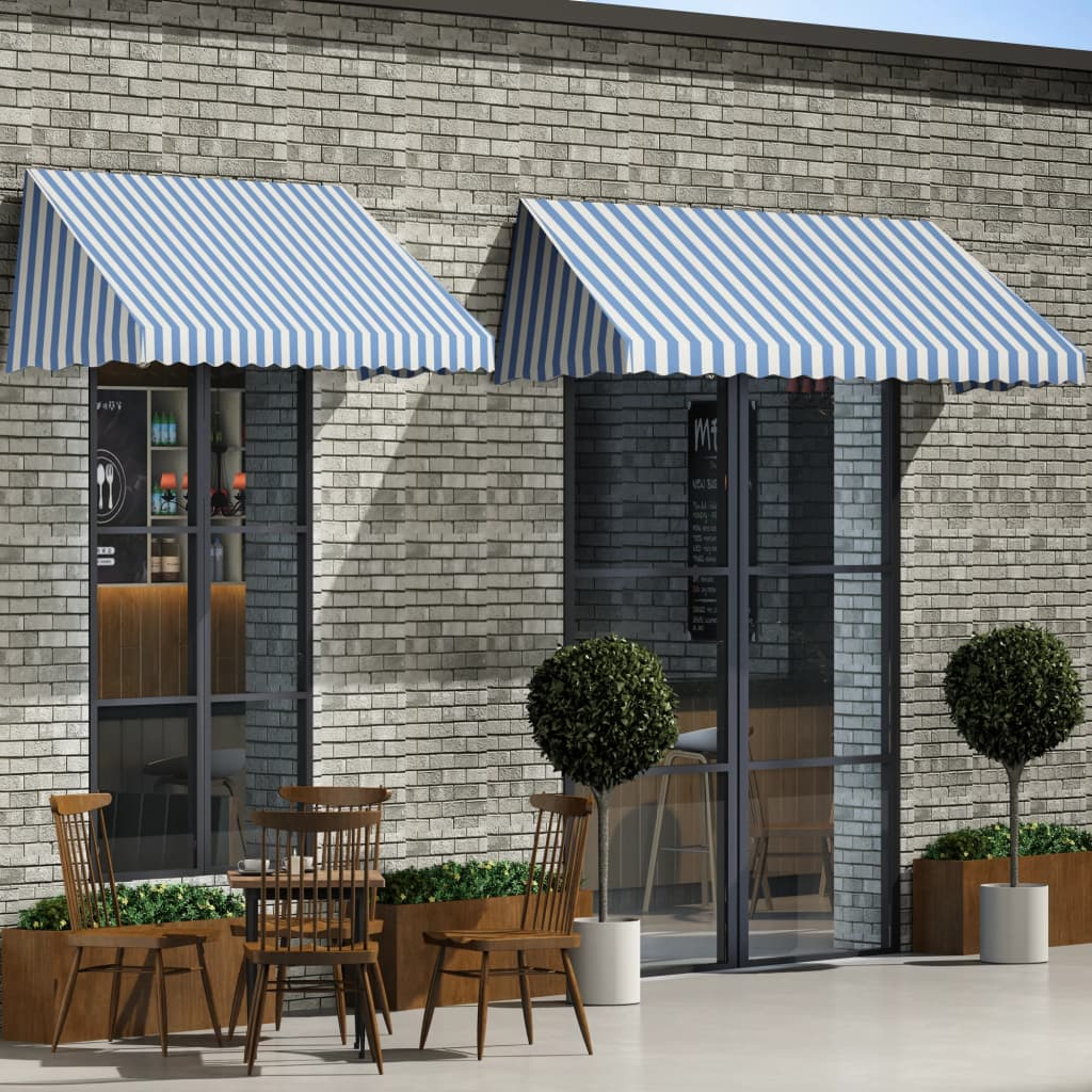 Bistro Awning 400x120 cm Blue and White