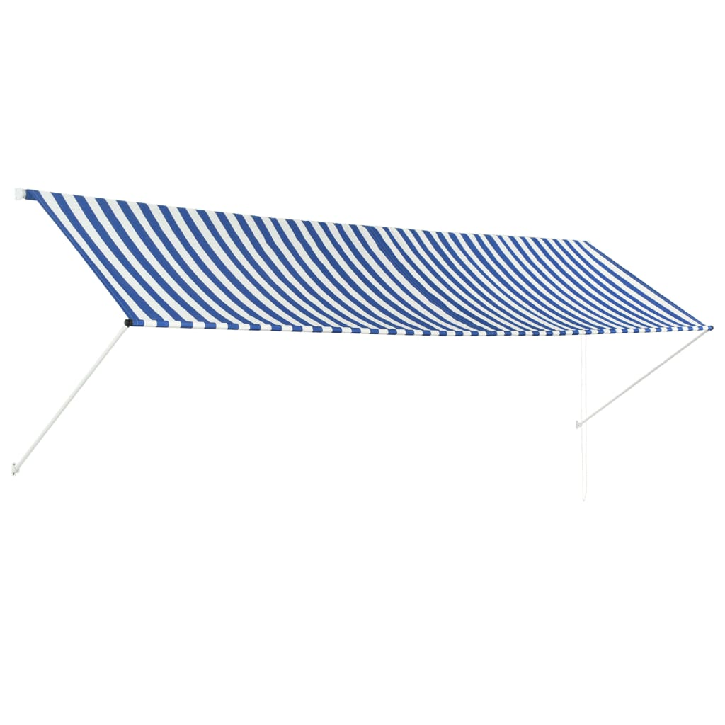 Retractable Awning 400×150 cm Blue and White 1