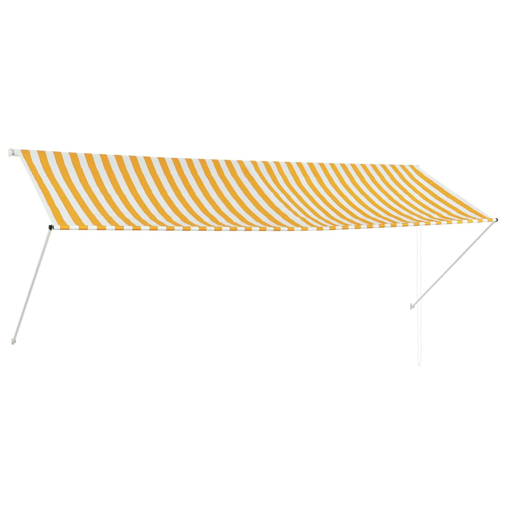 Retractable Awning 350×150 cm Yellow and White 1
