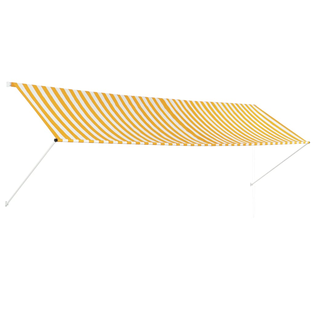 Retractable Awning 400×150 cm Yellow and White 1