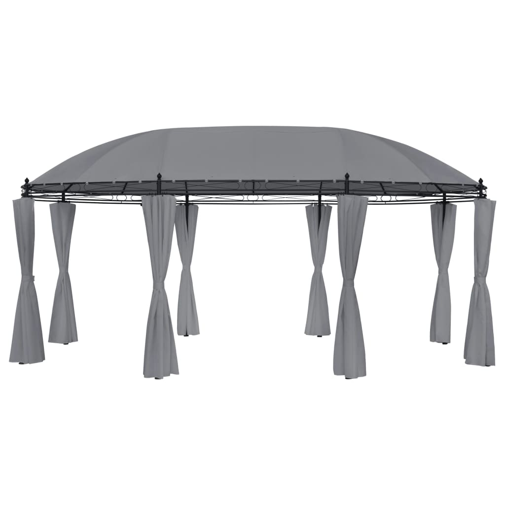 Gazebo with Curtains 530x350x265 cm Anthracite 1
