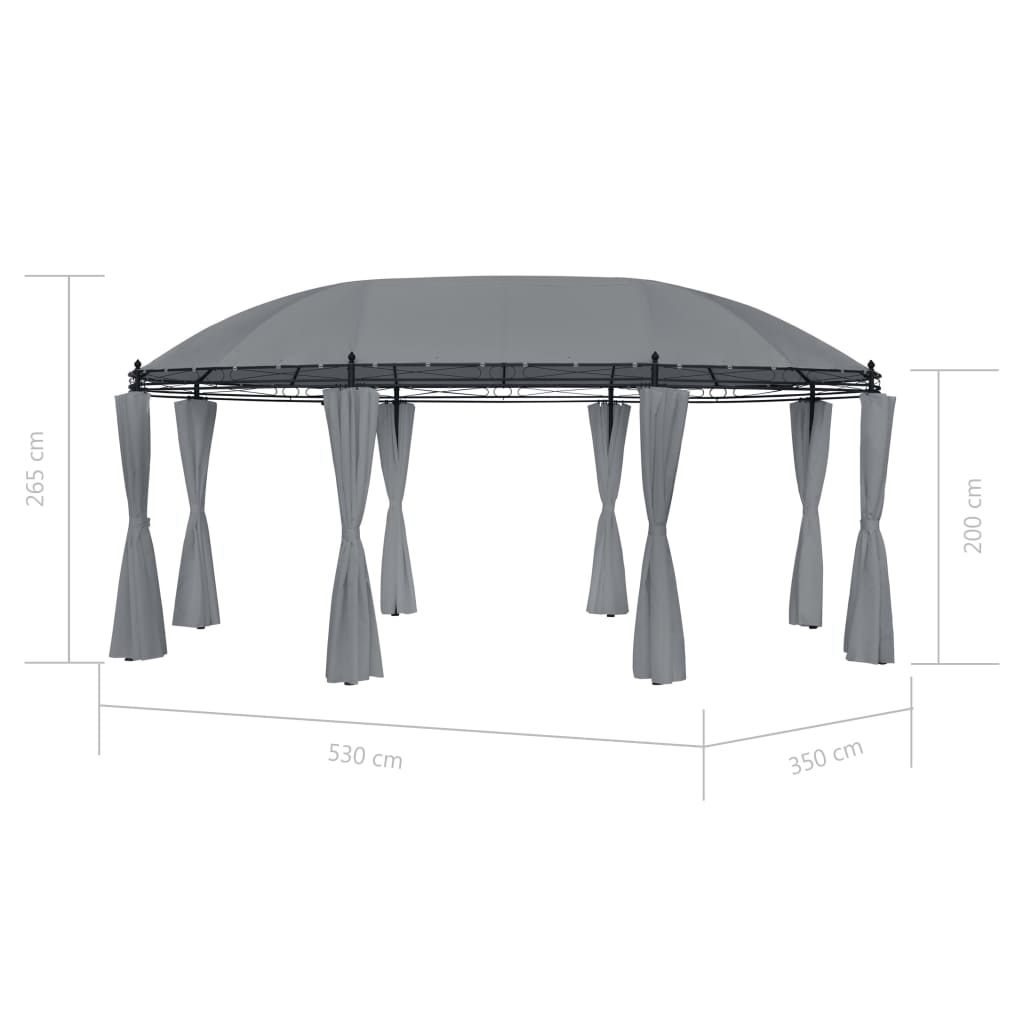 Gazebo with Curtains 530x350x265 cm Anthracite 7