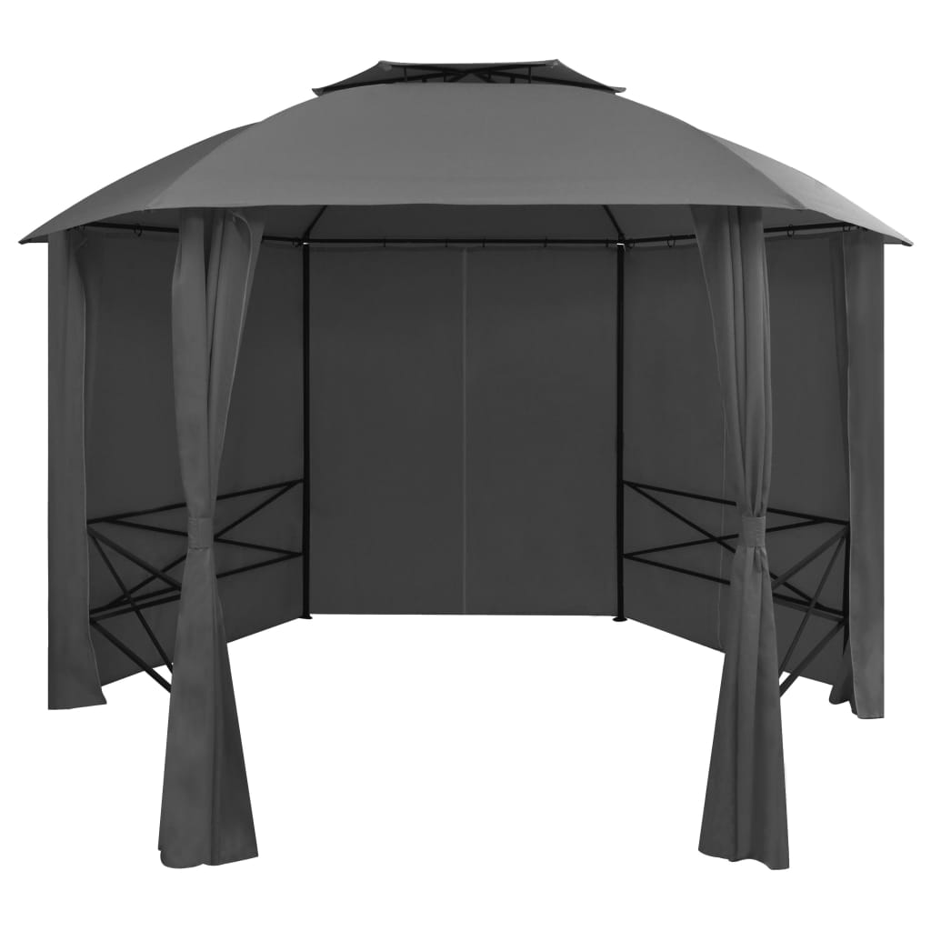 Garden Marquee Pavilion Tent with Curtains Hexagonal 360×265 cm 1