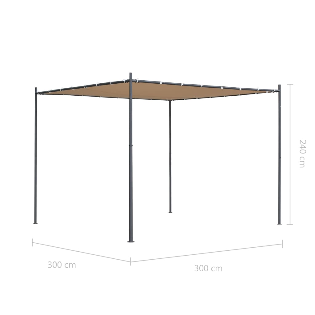 Gazebo with Flat Roof 3x3x2,4 m Beige 7