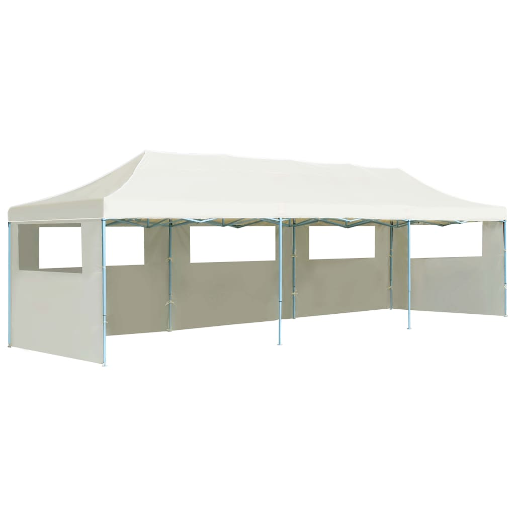 Folding Pop-up Party Tent with 5 Sidewalls 3×9 m Cream 1