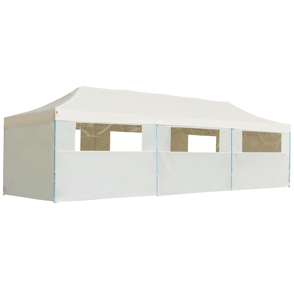 Folding Pop-up Party Tent with 8 Sidewalls 3×9 m Cream 1