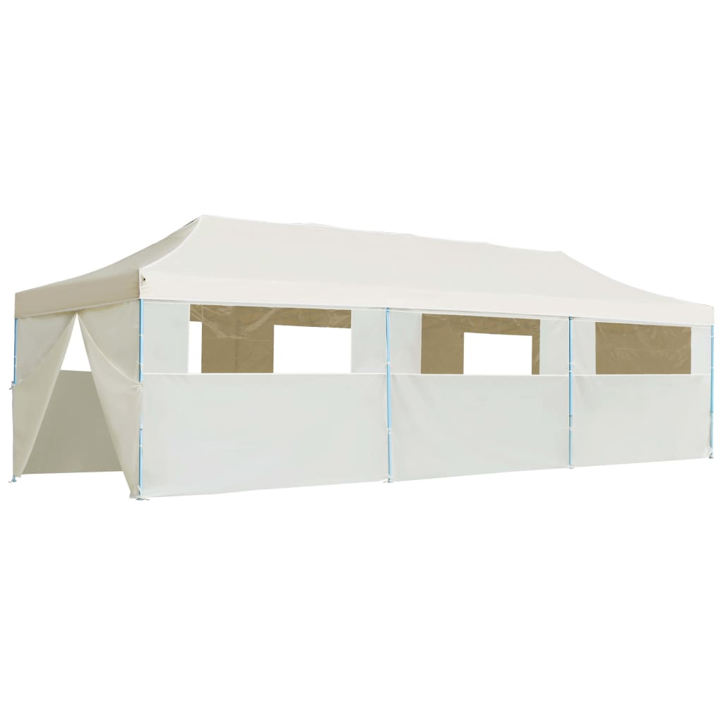 Folding Pop-up Party Tent with 8 Sidewalls 3×9 m Cream 4