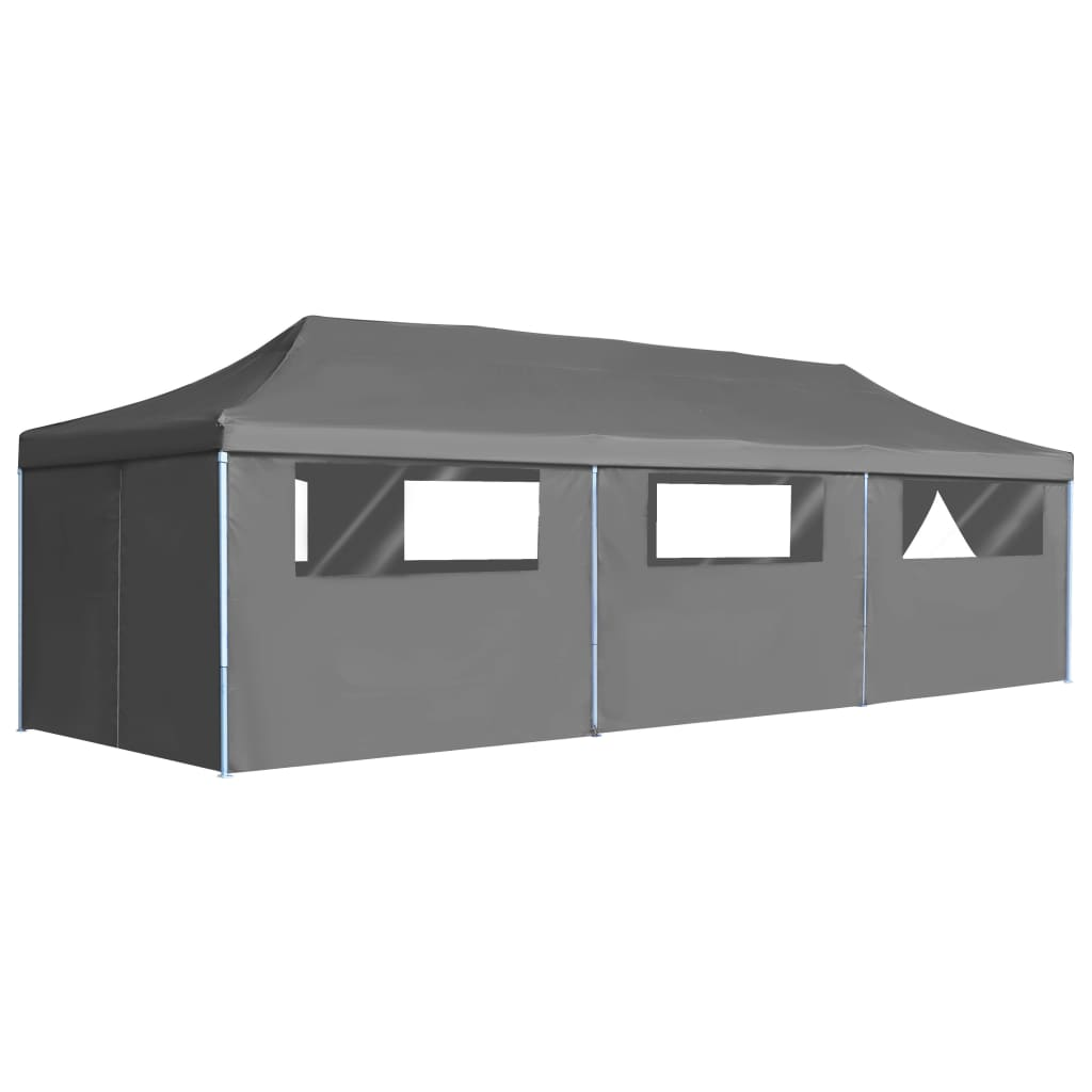 Folding Pop-up Party Tent with 8 Sidewalls 3×9 m Anthracite 1