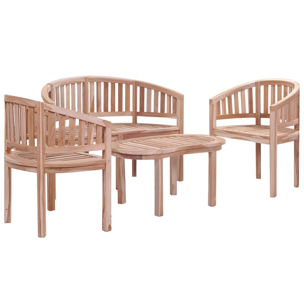 4 Piece Outdoor Dining Set Solid Teak Wood