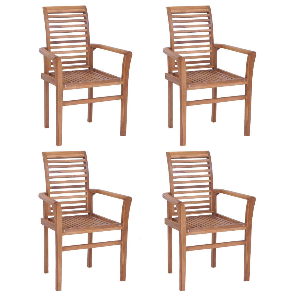 Stacking Dining Chairs 4 pcs Solid Teak 1
