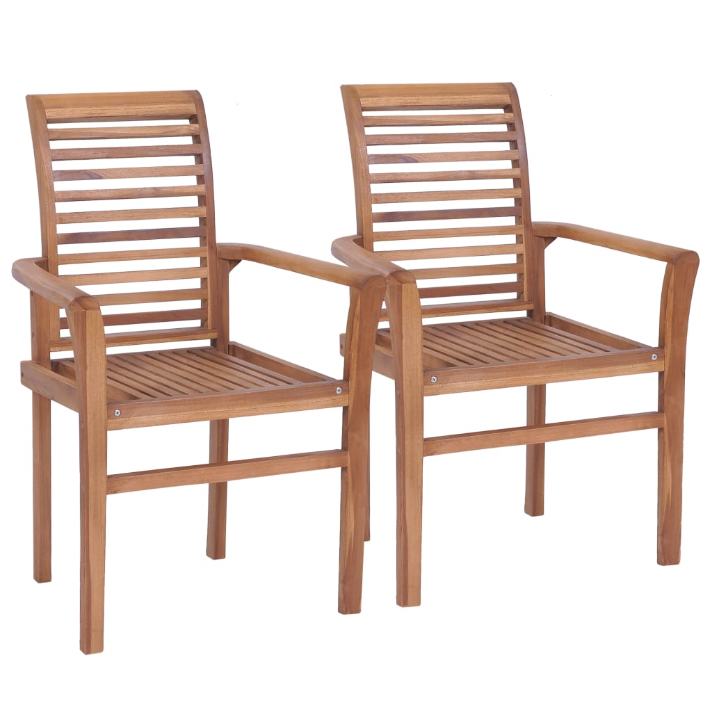 Stacking Dining Chairs 4 pcs Solid Teak 2