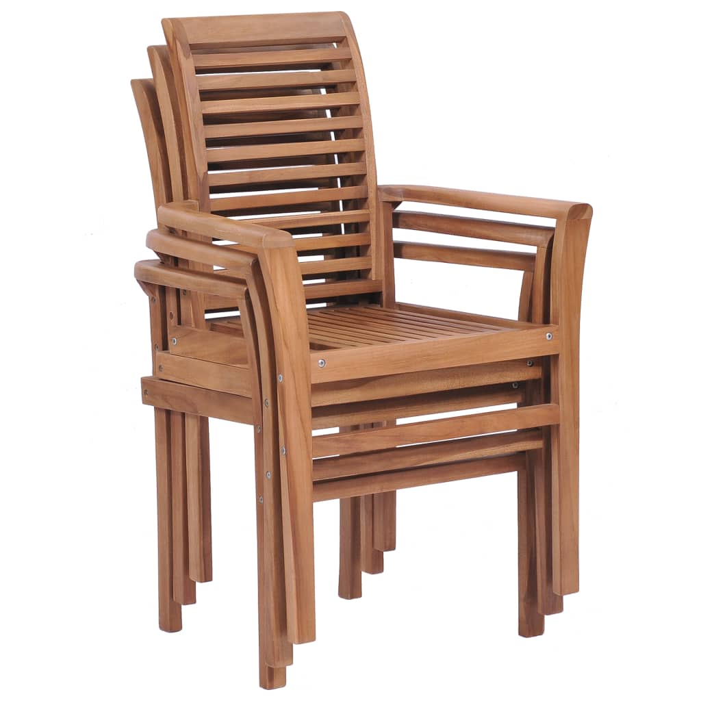 Stacking Dining Chairs 4 pcs Solid Teak 3