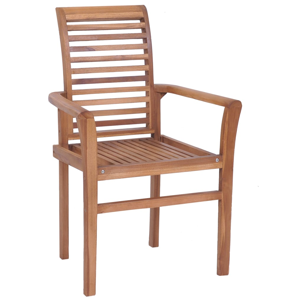 Stacking Dining Chairs 4 pcs Solid Teak 5