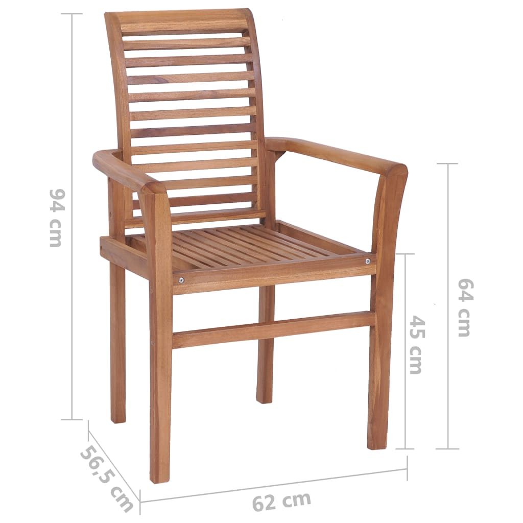 Stacking Dining Chairs 4 pcs Solid Teak 10