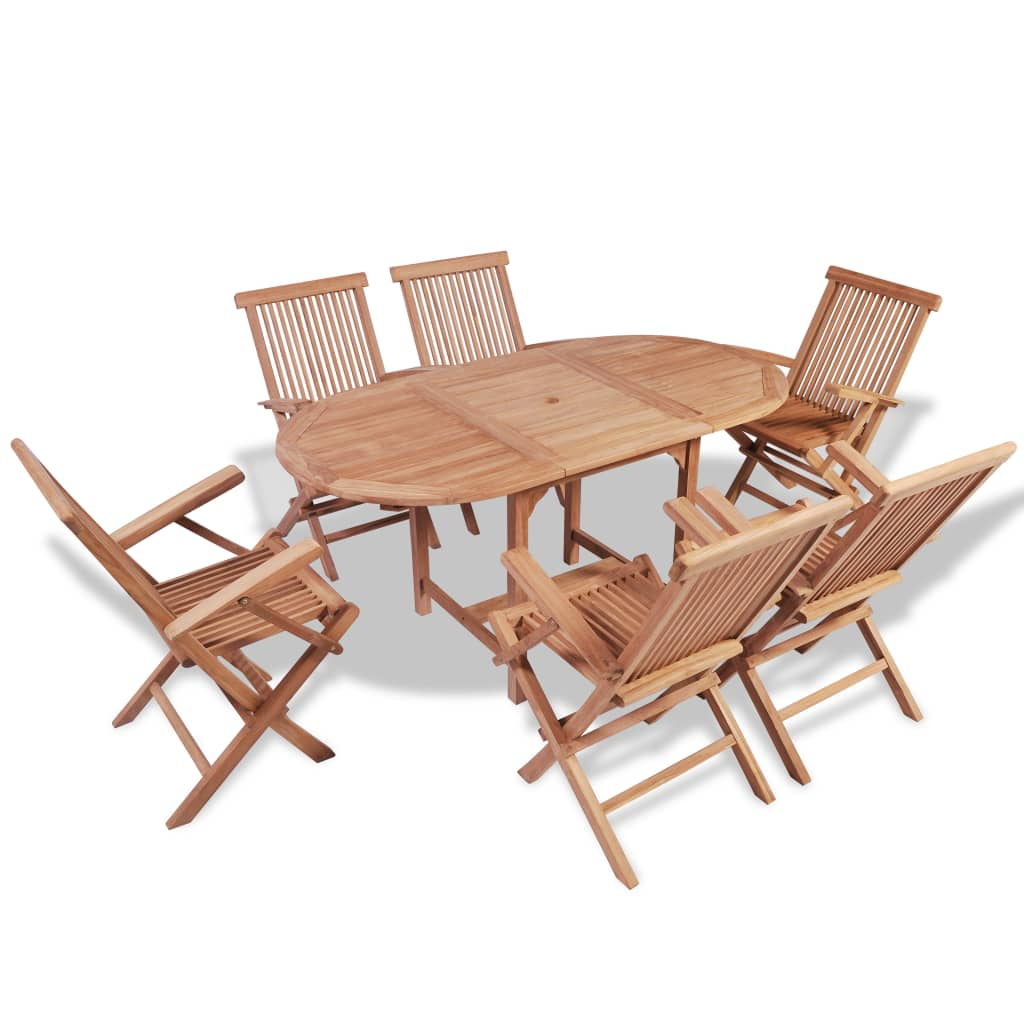 7 Piece Outdoor Dining Set Solid Teak Wood 1