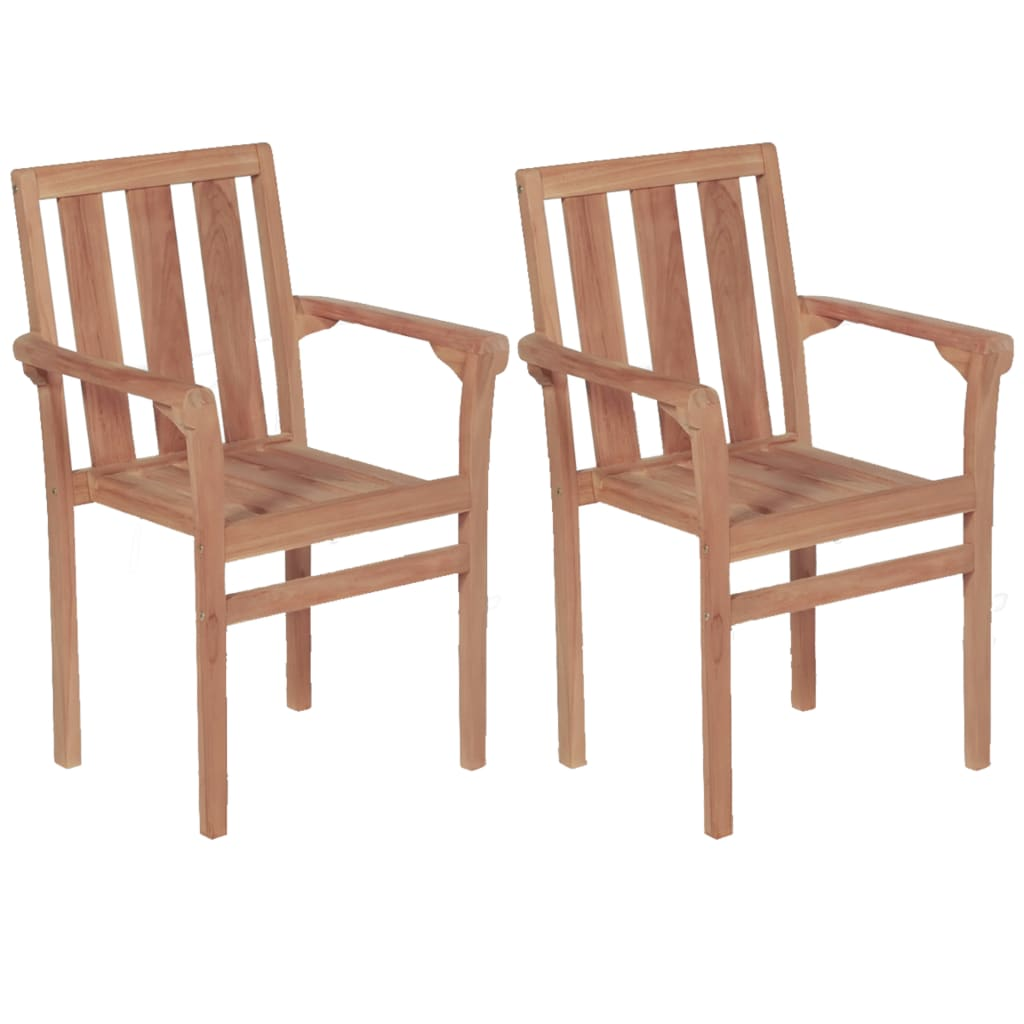 Stacking Garden Chairs 2 pcs Solid Teak Wood
