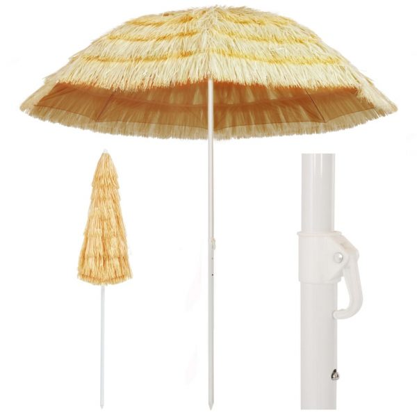 Beach Umbrella Natural 240 cm Hawaii Style 1