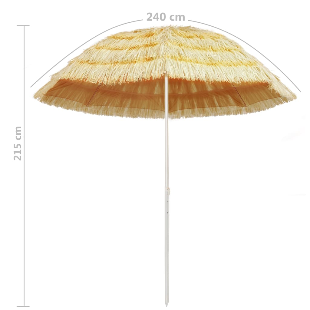 Beach Umbrella Natural 240 cm Hawaii Style 5