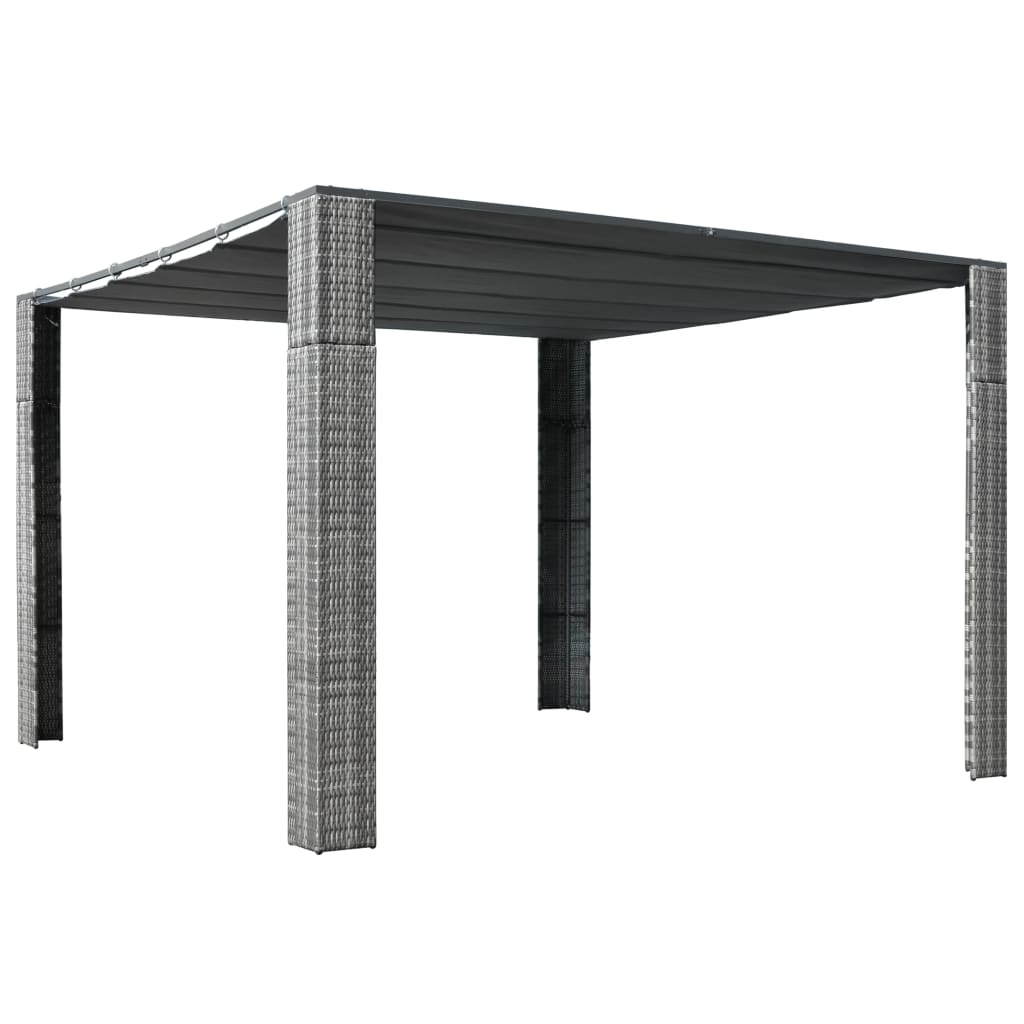 Gazebo with Roof Poly Rattan 300x300x200 cm Grey and Anthracite 1