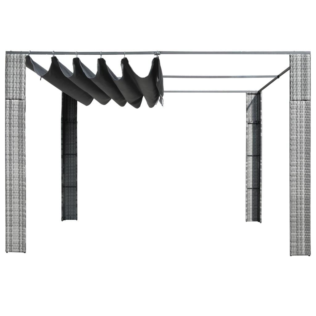 Gazebo with Roof Poly Rattan 300x300x200 cm Grey and Anthracite 2