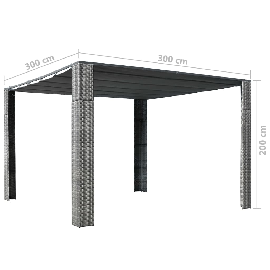 Gazebo with Roof Poly Rattan 300x300x200 cm Grey and Anthracite 4