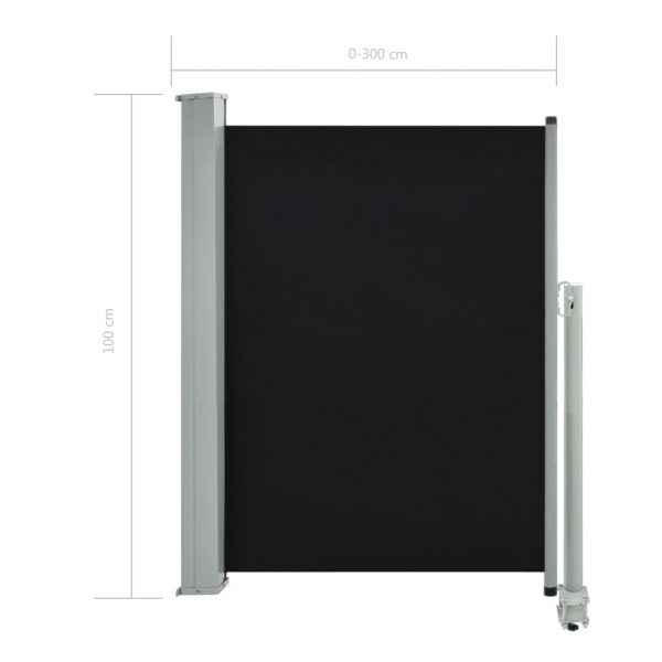 Patio Retractable Side Awning 100 x 300 cm Black 8