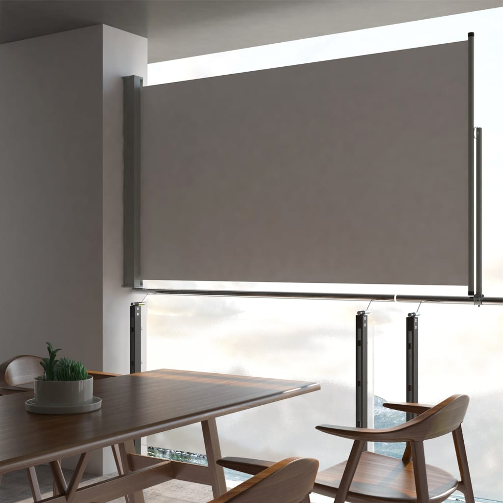 Patio Retractable Side Awning 140 x 300 cm Grey 1