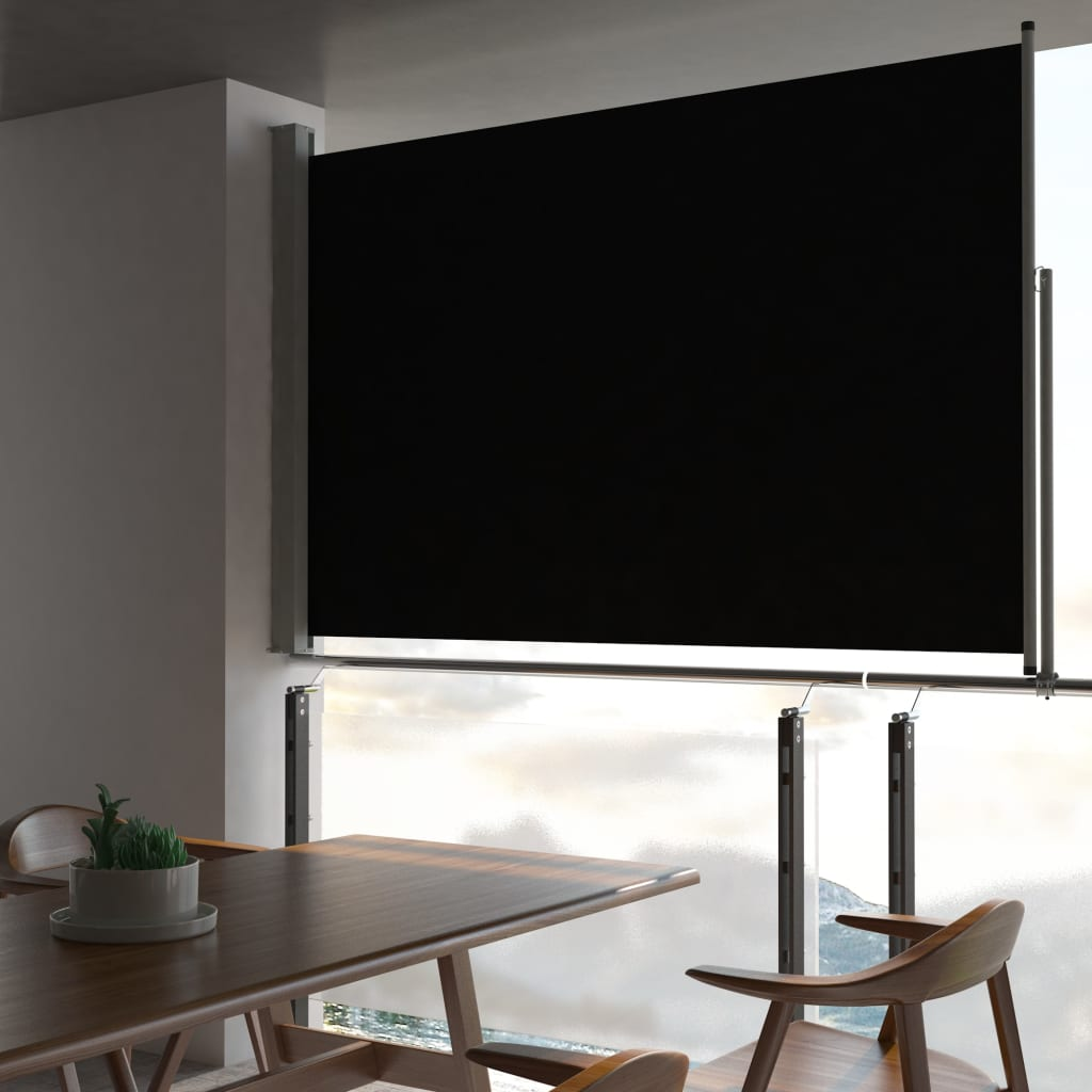 Patio Retractable Side Awning 160 x 300 cm Black 1