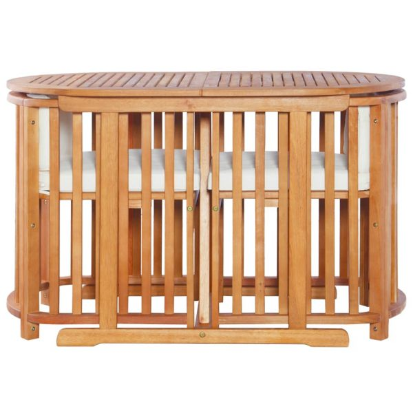3 Piece Bistro Set with Cushions Solid Eucalyptus Wood 2