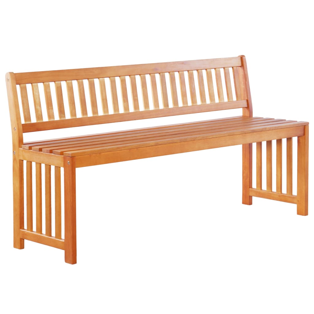 Garden Bench 137 cm Solid Eucalyptus Wood
