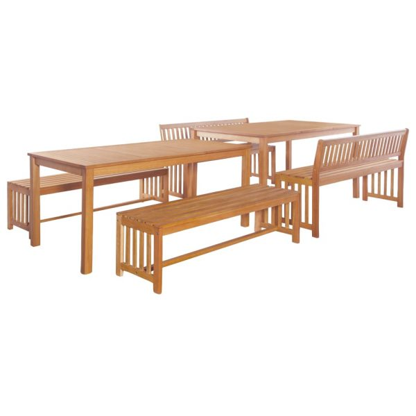 6 Piece Outdoor Dining Set Solid Eucalyptus Wood 1